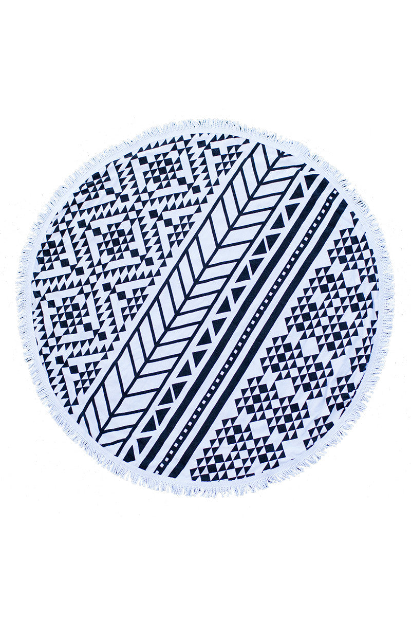 Round Towel - Black & White Aztec Print