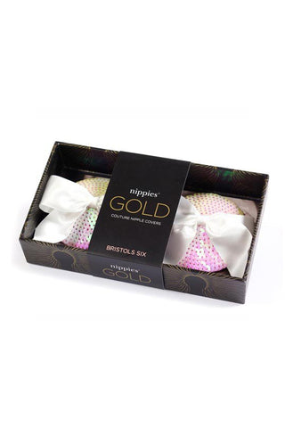BRISTOLS SIX Gold Couture The Marilyn Bow Tassels - White Iridescent Sequin Accessories | White Iridescent Sequin| Gold Couture The Marilyn Bow Tassels - White Iridescent Sequin  In The Box View