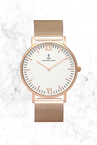 KAPTEN AND SON Mesh Campina Watch Accessories | Mesh| Kapten & Son Copper Mesh Campina Watch