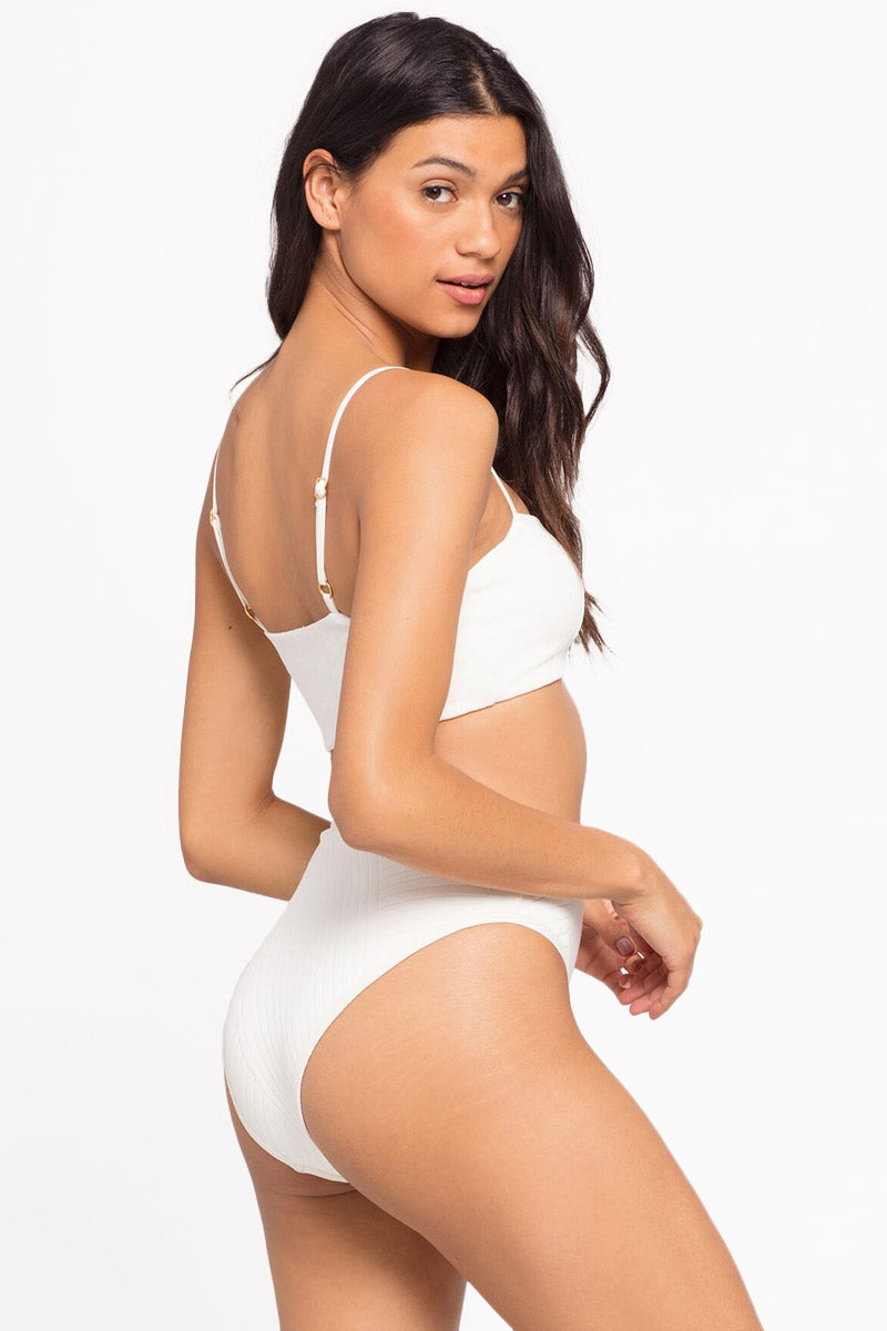 Frenchi High Waist Bikini Bottom - Cream White