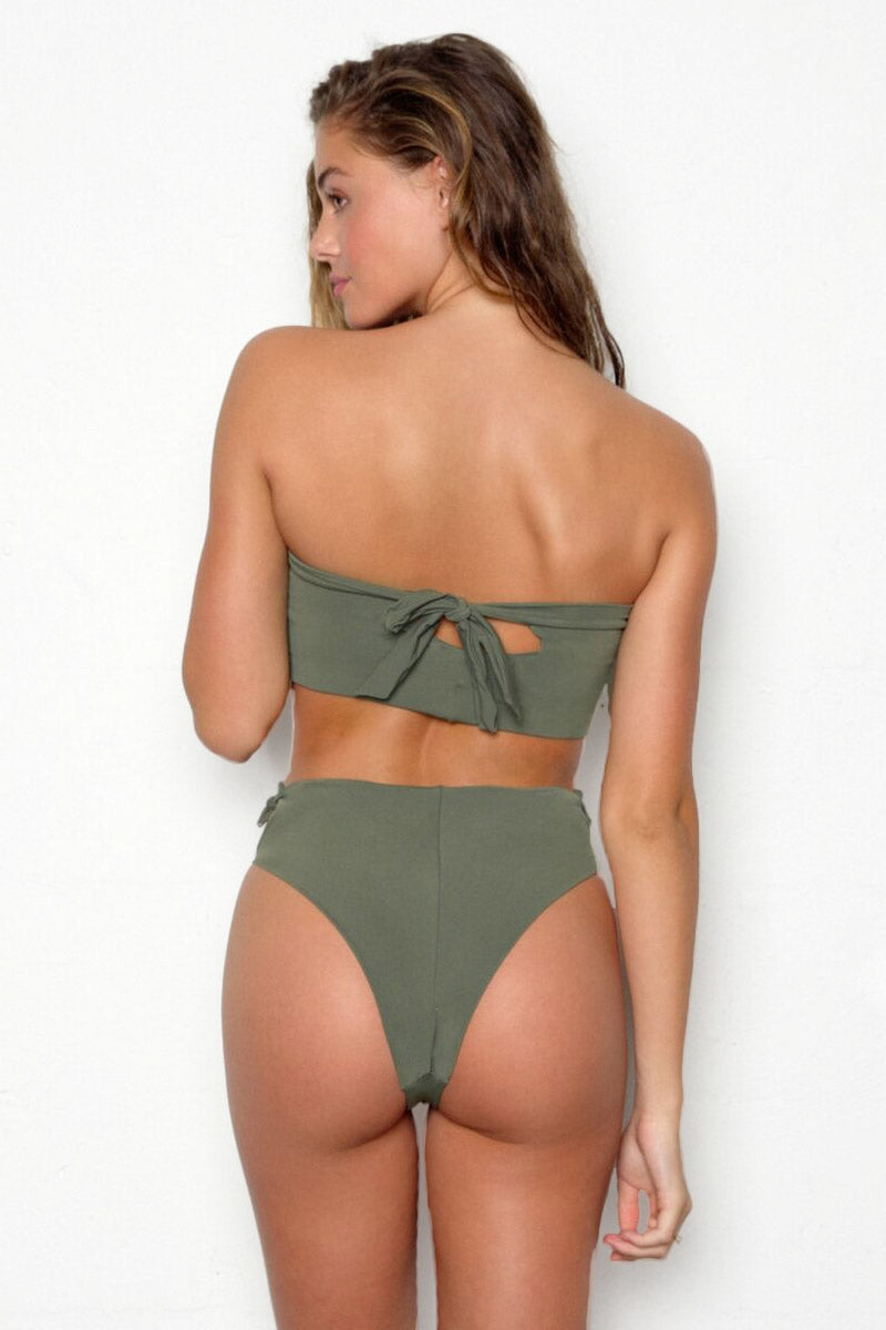 Babe High Waist Bikini Bottom - Forest Green