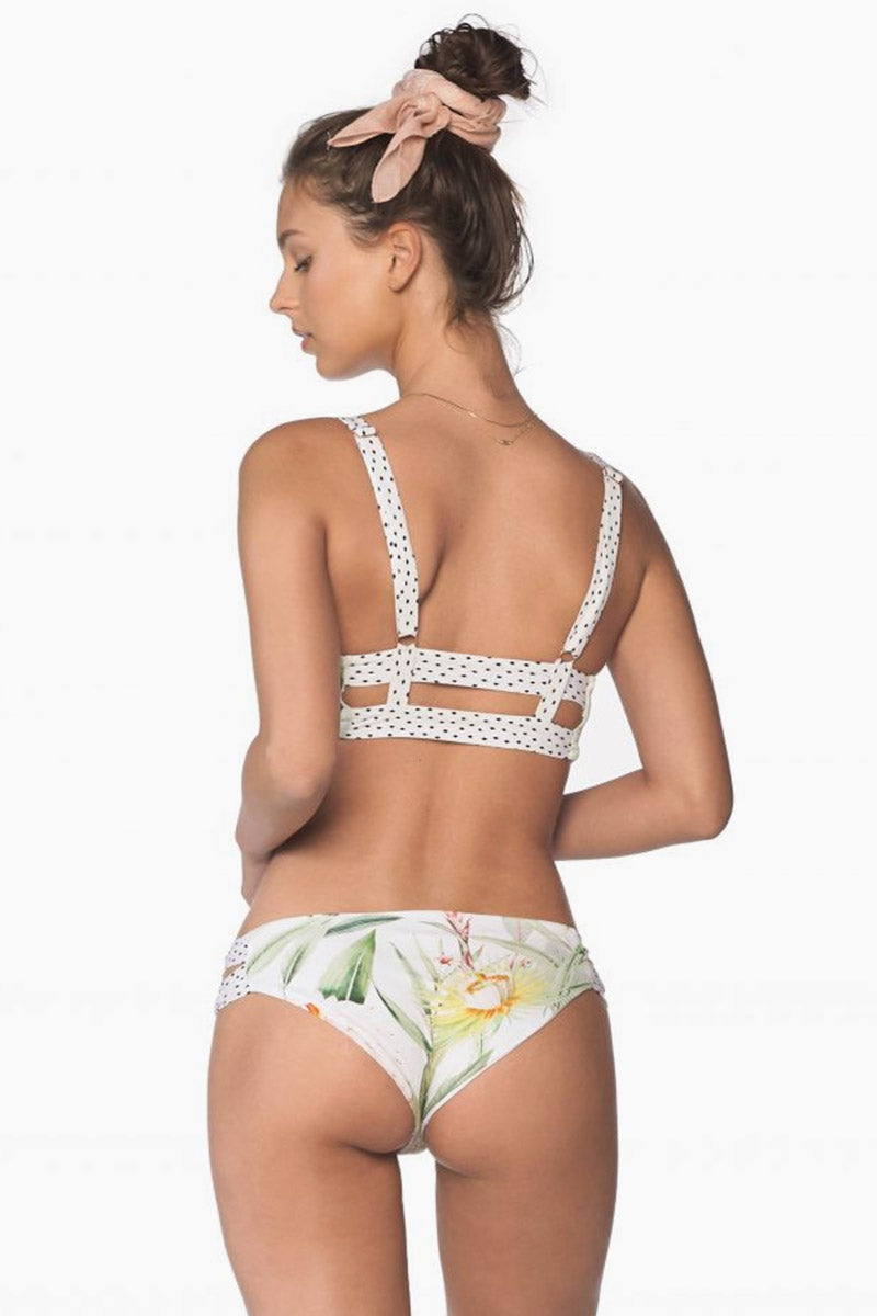 Double Strap Side Cut Out Bikini Bottom - Silent White Vegflor Print