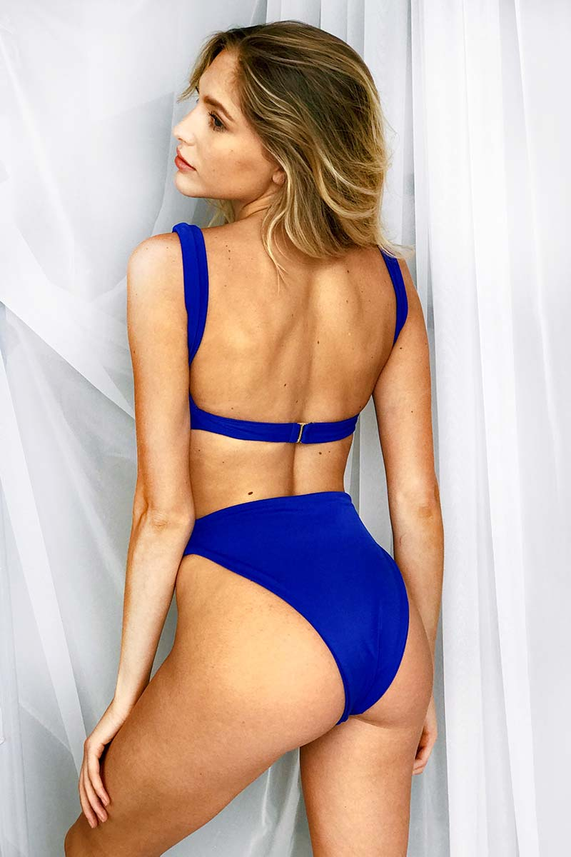 High Rise Half Moon Cut Out Bikini Bottom - Cobalt Blue