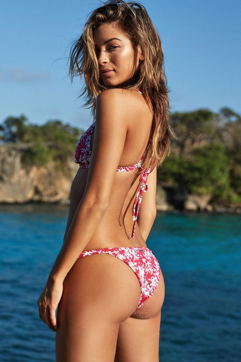Zen Thin Strap Cheeky Bikini Bottom - Antigua Red Floral Print