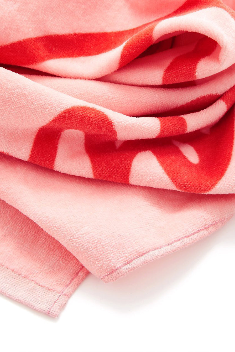 "BAN.DO Wish You Were Here Giant Towel Accessories | Pink|Wish You Were Here Giant Towel Pink oversized rectangle-shaped terry cloth towel with red ""Wish You Were Here"" script font surface design."