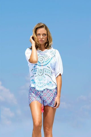 BASTA SURF Baja Shorts Cover Up | Zinnia Blue Print|