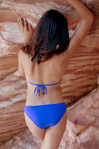 BEACH JOY Pleated Triangle Top Bikini Top | Electric Blue|