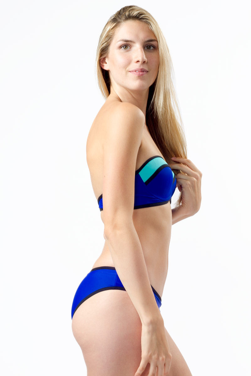 BEACH JOY Color Block Bottom Bikini Bottom | Electric Blue|