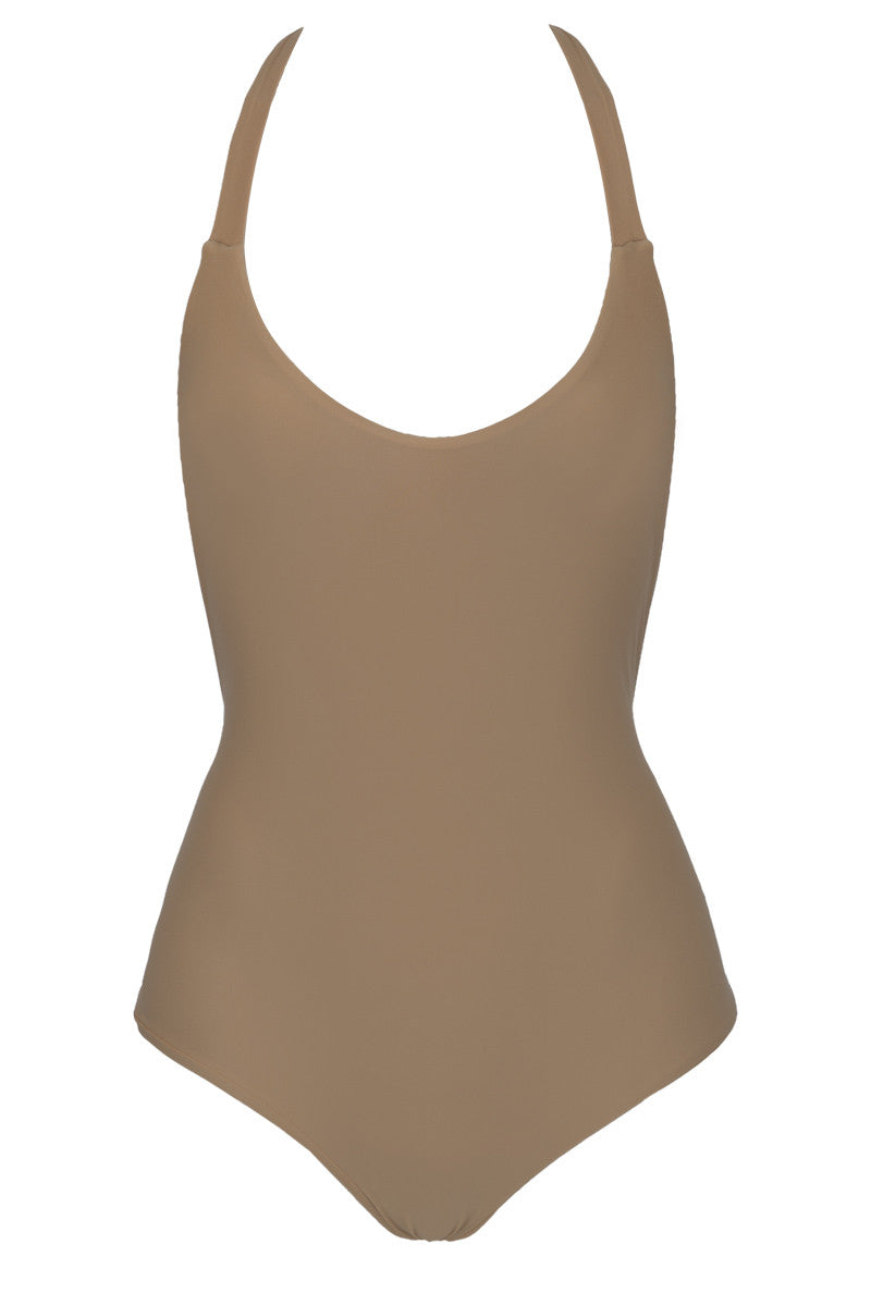 Macrame Open Back Cheeky One Piece Swimsuit - Sand Brown