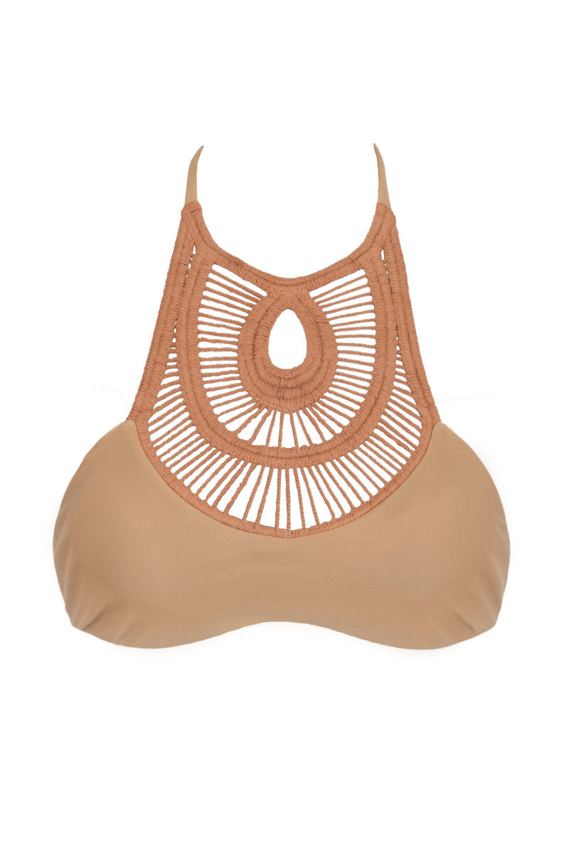 Crochet High Neck Bikini Top - Sand Brown