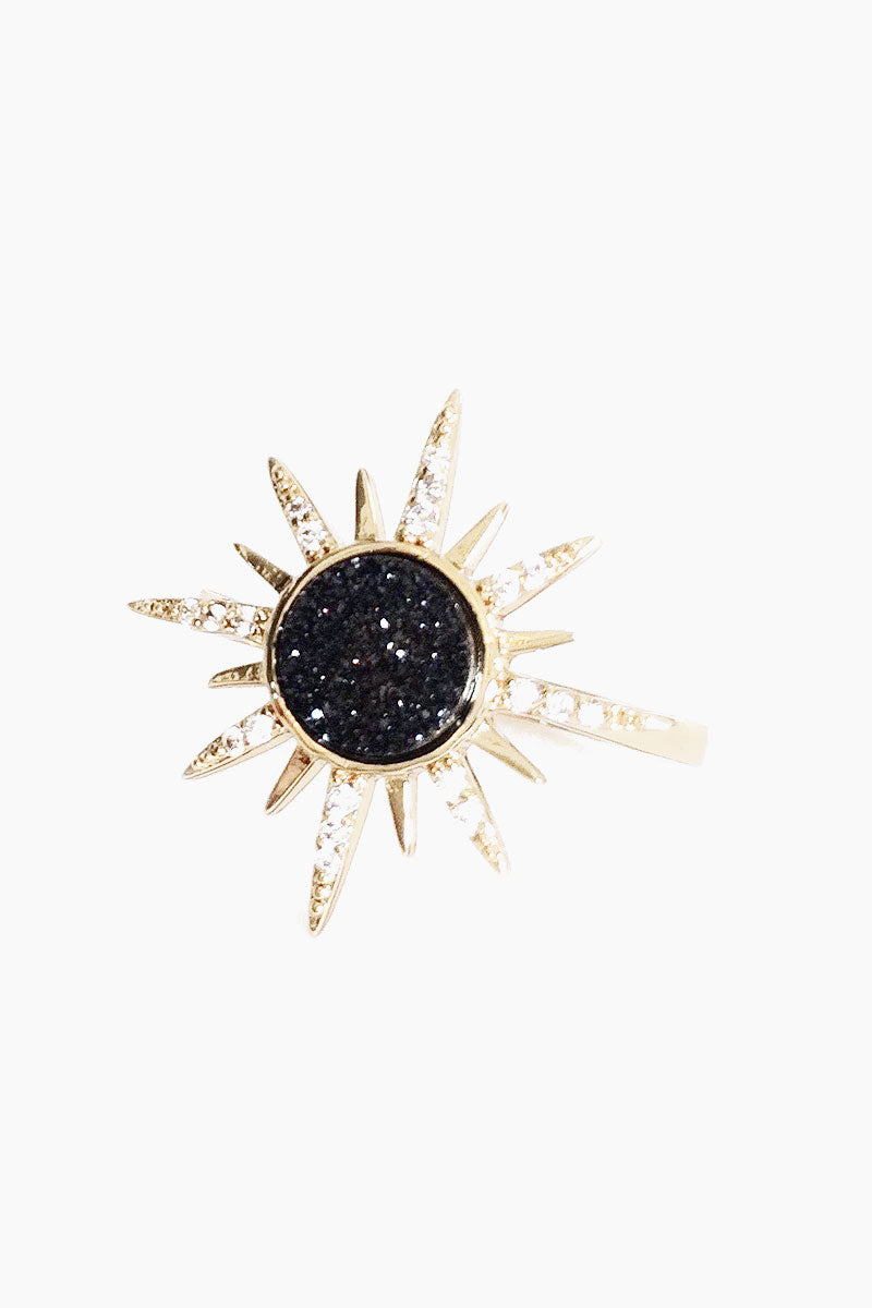 Gemstone Starbust Ring - Black Druzy