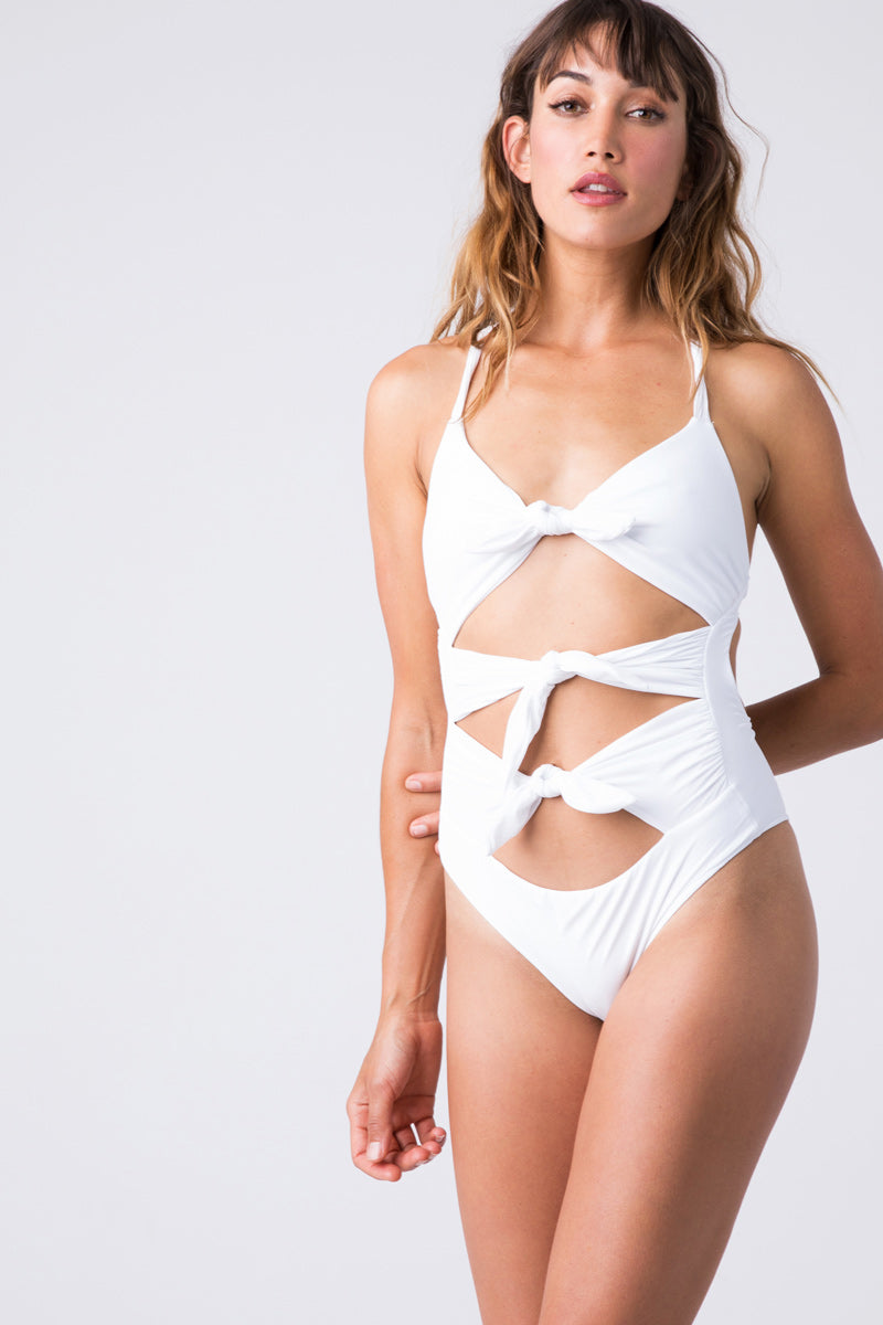892bad7e16 BLUE LIFE Exotica Knotted Tie Cut Out One Piece Swimsuit - White ...
