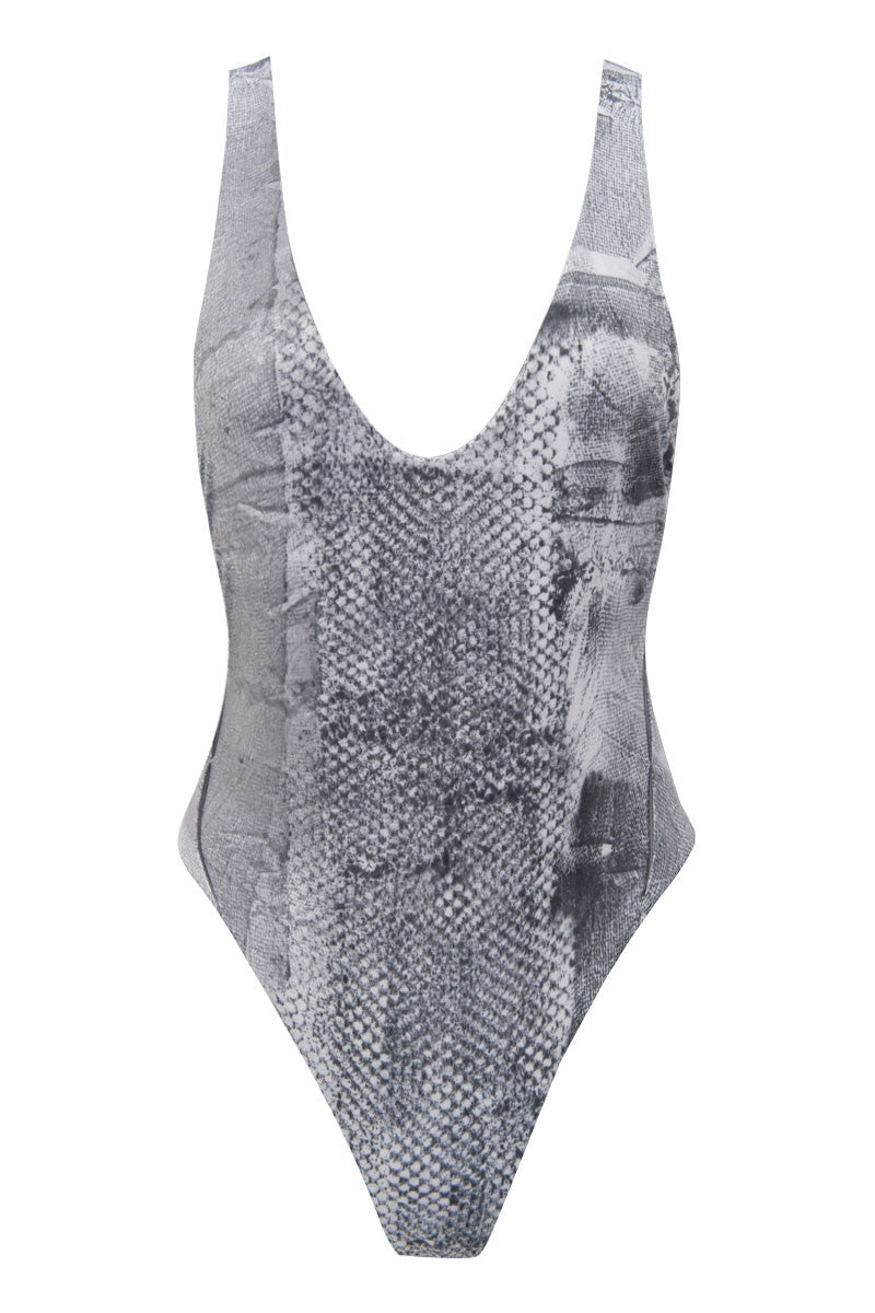 Wrapped Up One Piece Swimsuit - Snake Tie Dye
