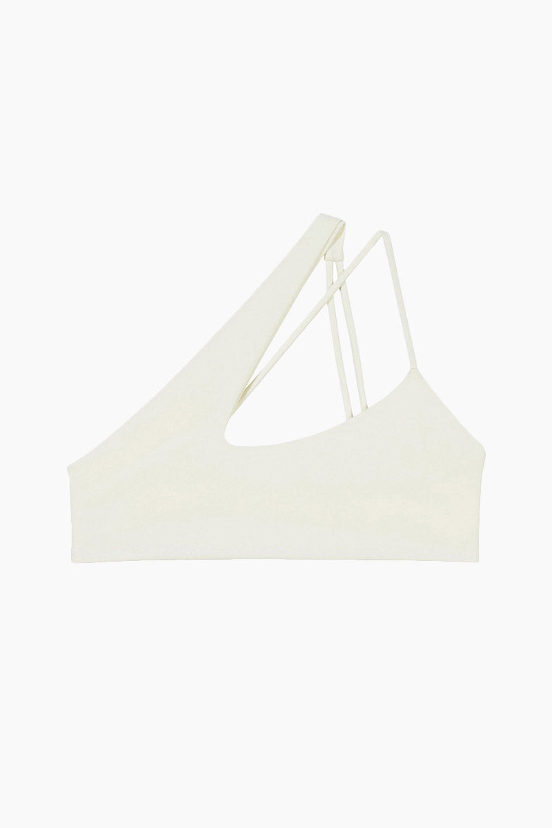 Queensland One Shoulder Criss Cross Bikini Top - Bone White