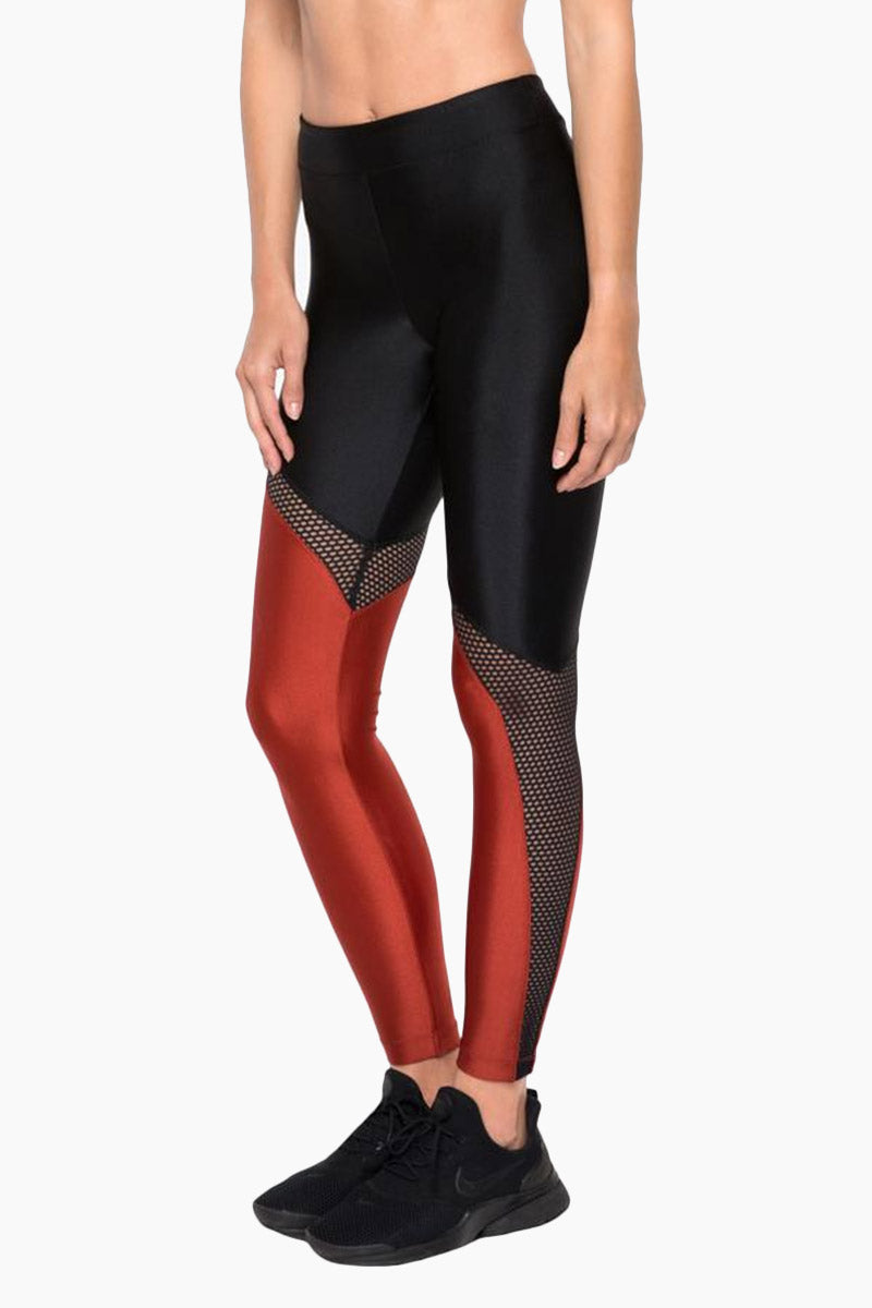 Venus Mesh High Rise Sprint Leggings - Rouge Red/Black