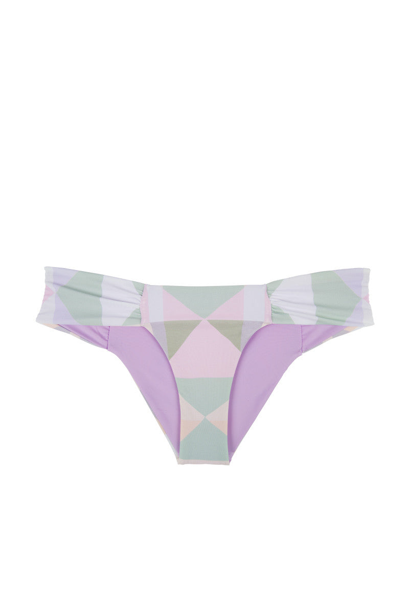 Diamond Ruched Side Bikini Bottom - Pastel Pink Geometric Print