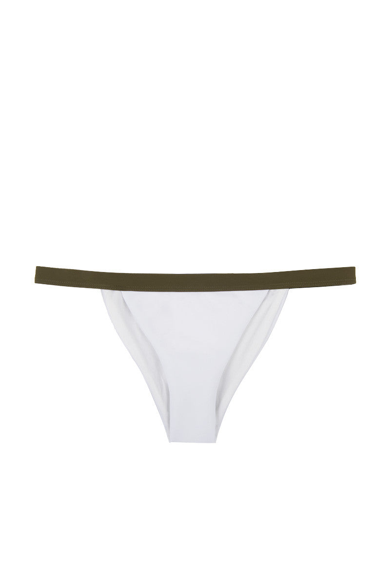 Private Jet Color Block High Cut Bikini Bottom - White & Olive Green