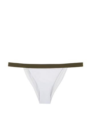 ZIGILANE Private Jet Bottom Bikini Bottom | White & Olive Green|