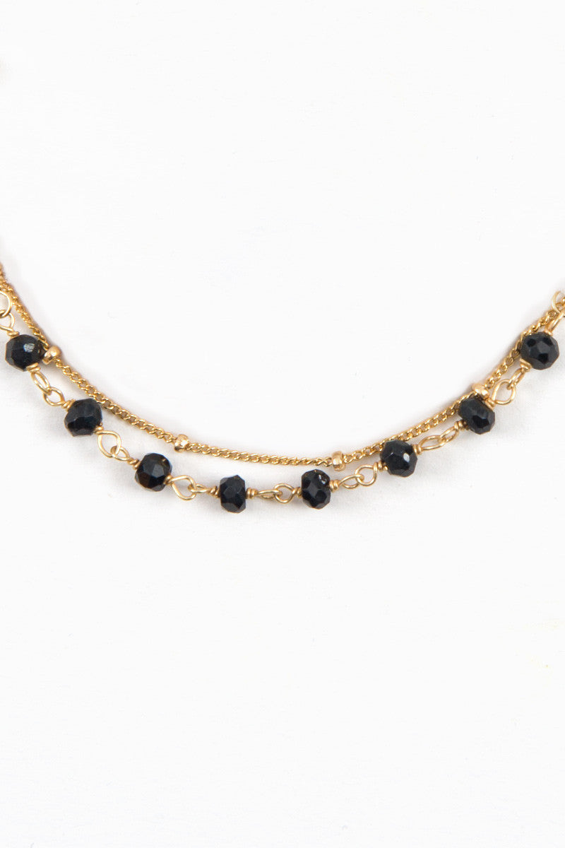 MAILEE Black Spinal Beaded Wrap Bracelet Accessories | Gold|