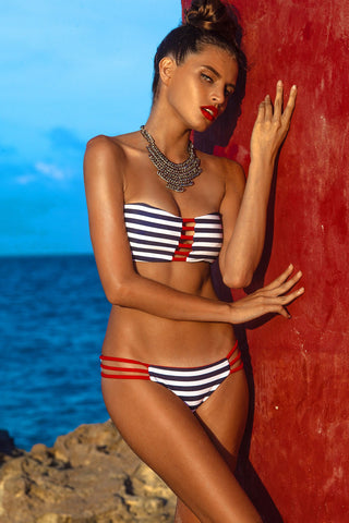 KHONGBOON Brunei Top Bikini Top | Blue and White/Red|