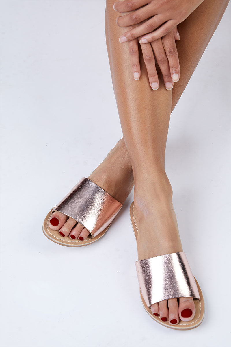 Cabana Leather Sandals - Rose Gold