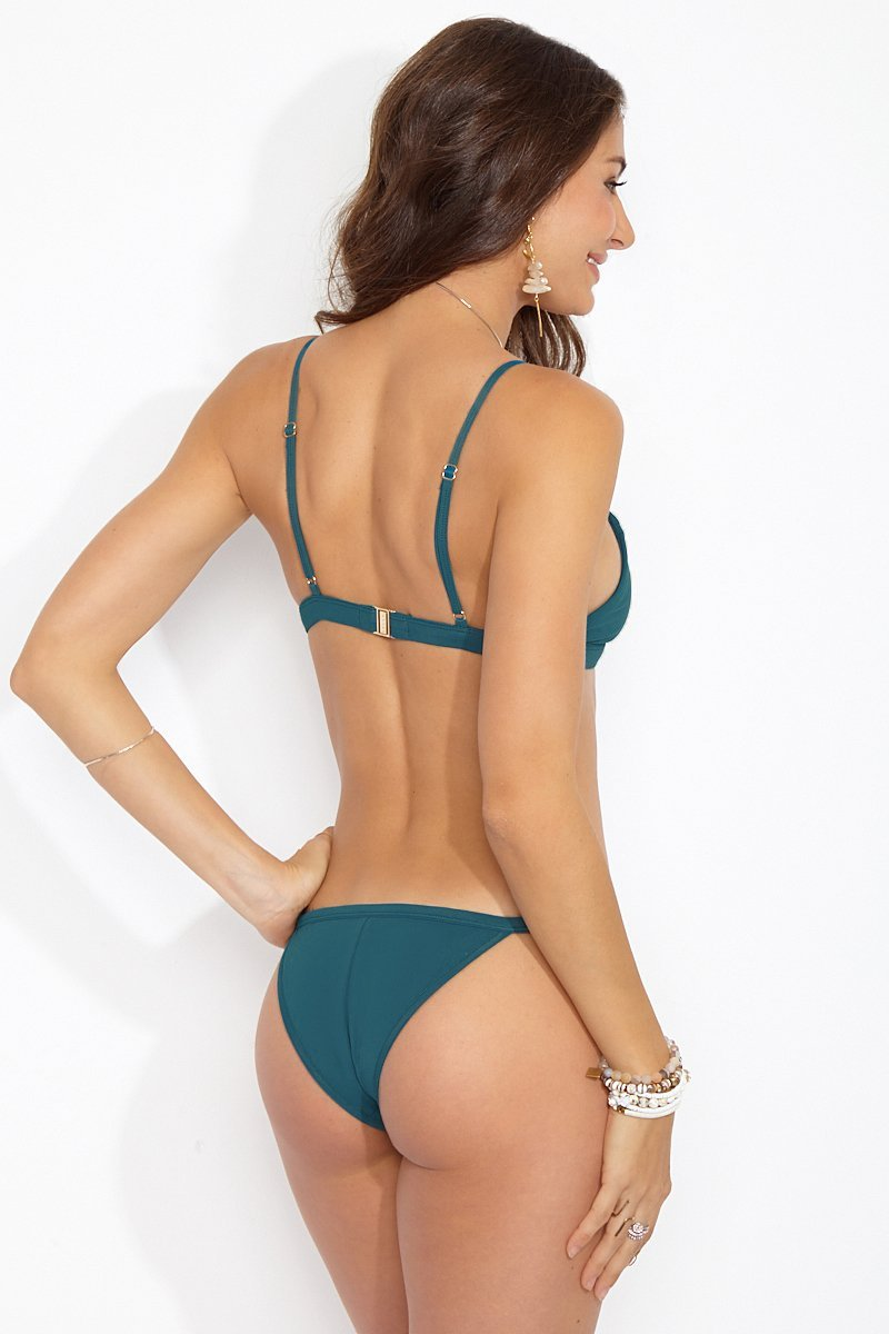 Otis Triangle Cut Cheeky Bikini Bottom - Galapagos Green