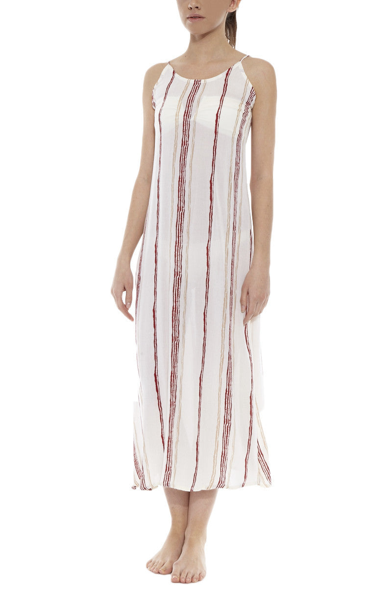 Drift Playa Midi Cover Up Dress - Rouge Red & White Stripe Print