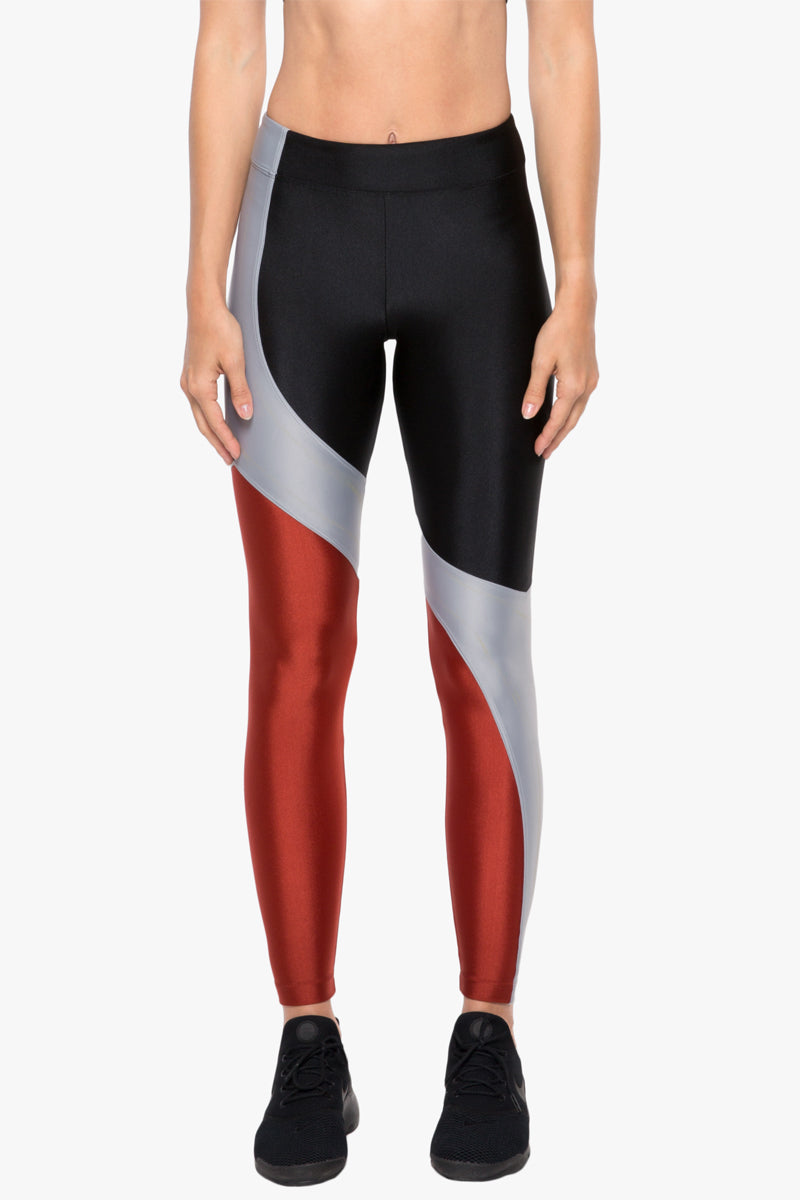 Charisma Color Block High Rise Sprint Leggings - Black/Rouge Red/Silver