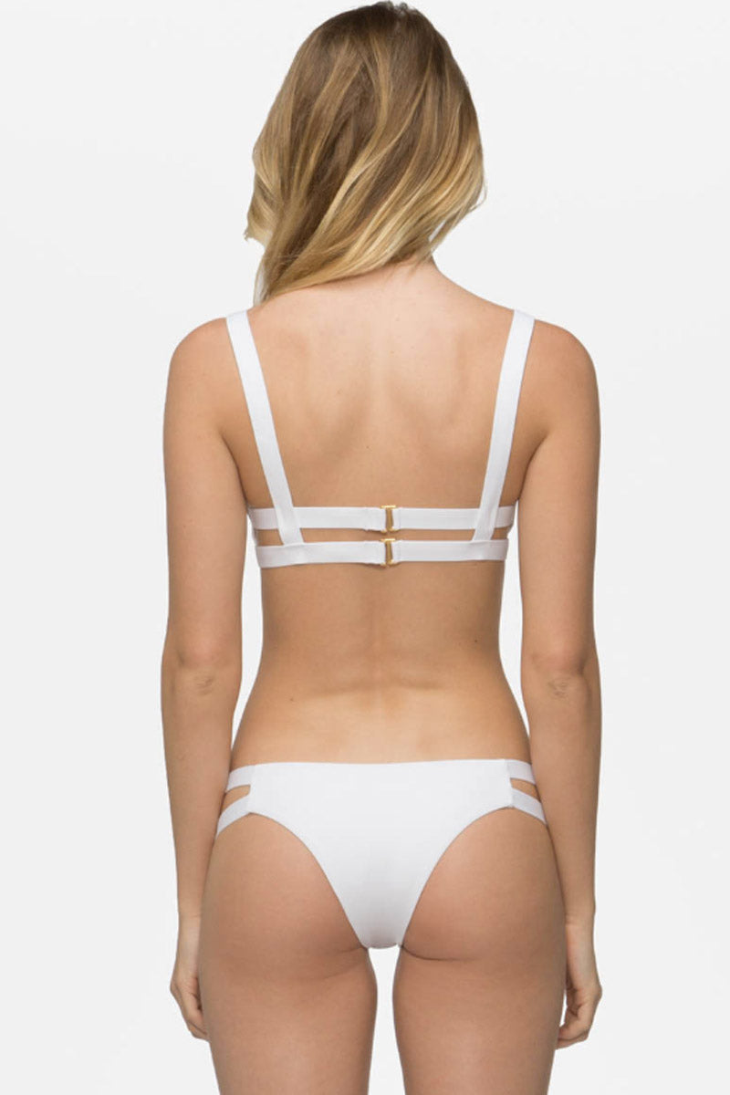Chloe Double Strap Cut Out Bikini Bottom - White