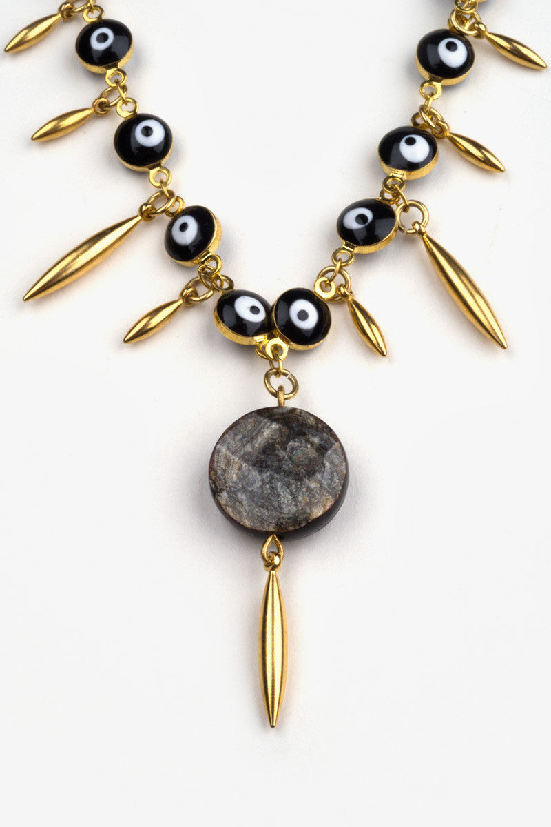 HAUS OF TOPPER Evil Eye Spike Necklace Accessories | Black & Gold|