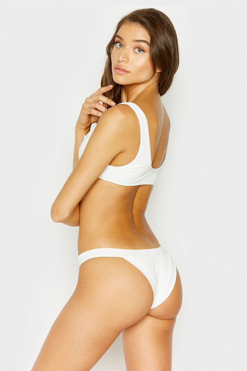 Cole Ribbed Cheeky Bikini Bottom - White