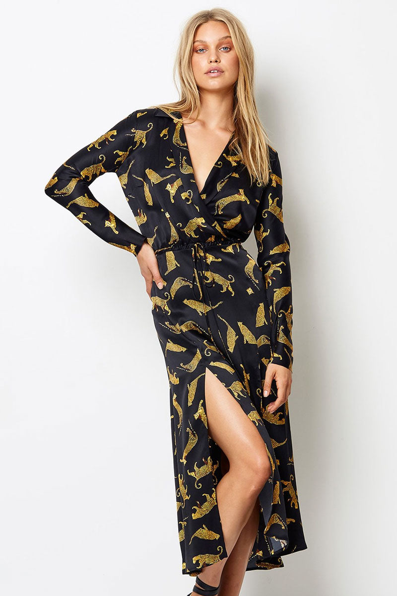Conga Beat Midi Shirt Dress - Cheetah Print