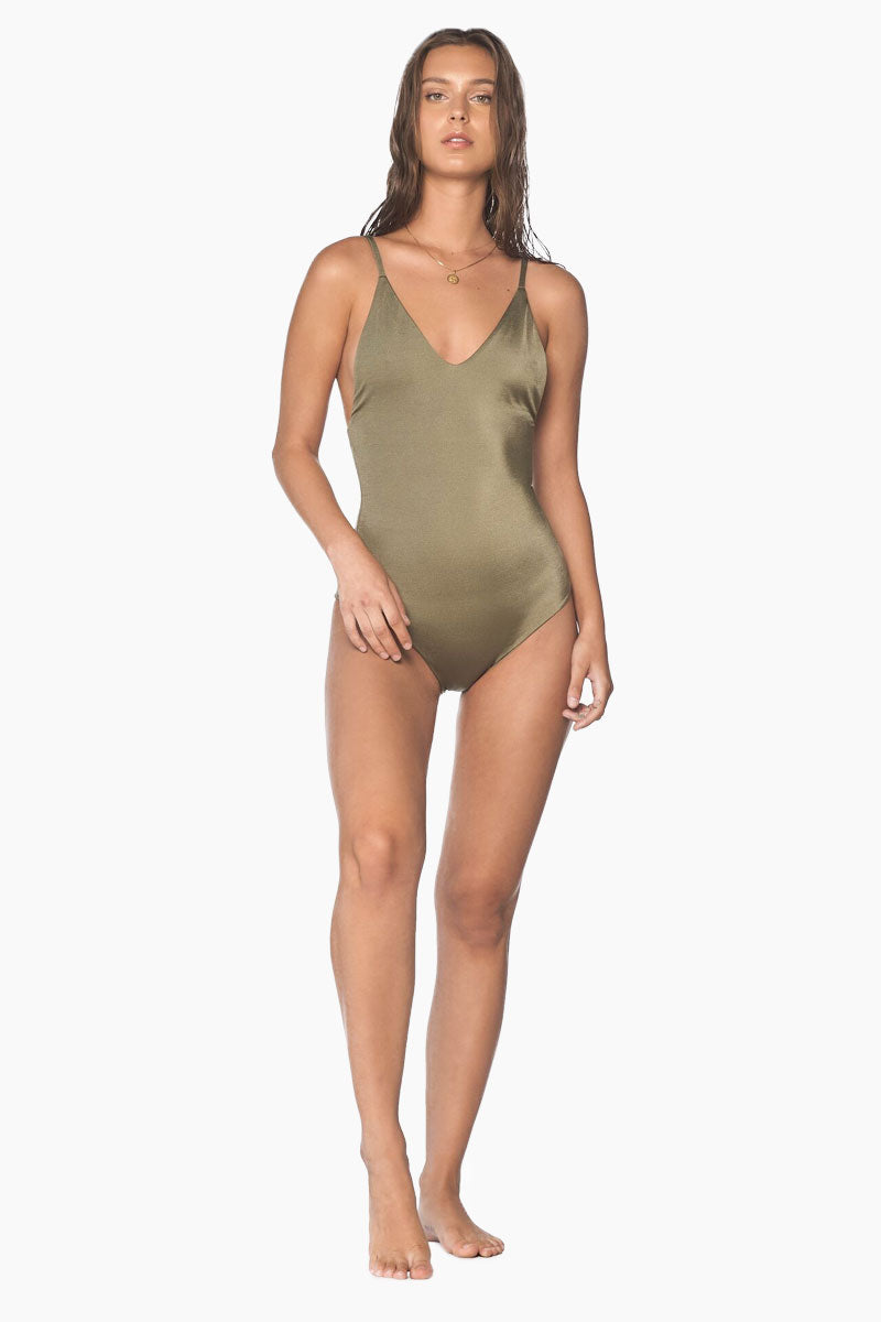 Crossed Back One Piece Swimsuit - Sparkly Green