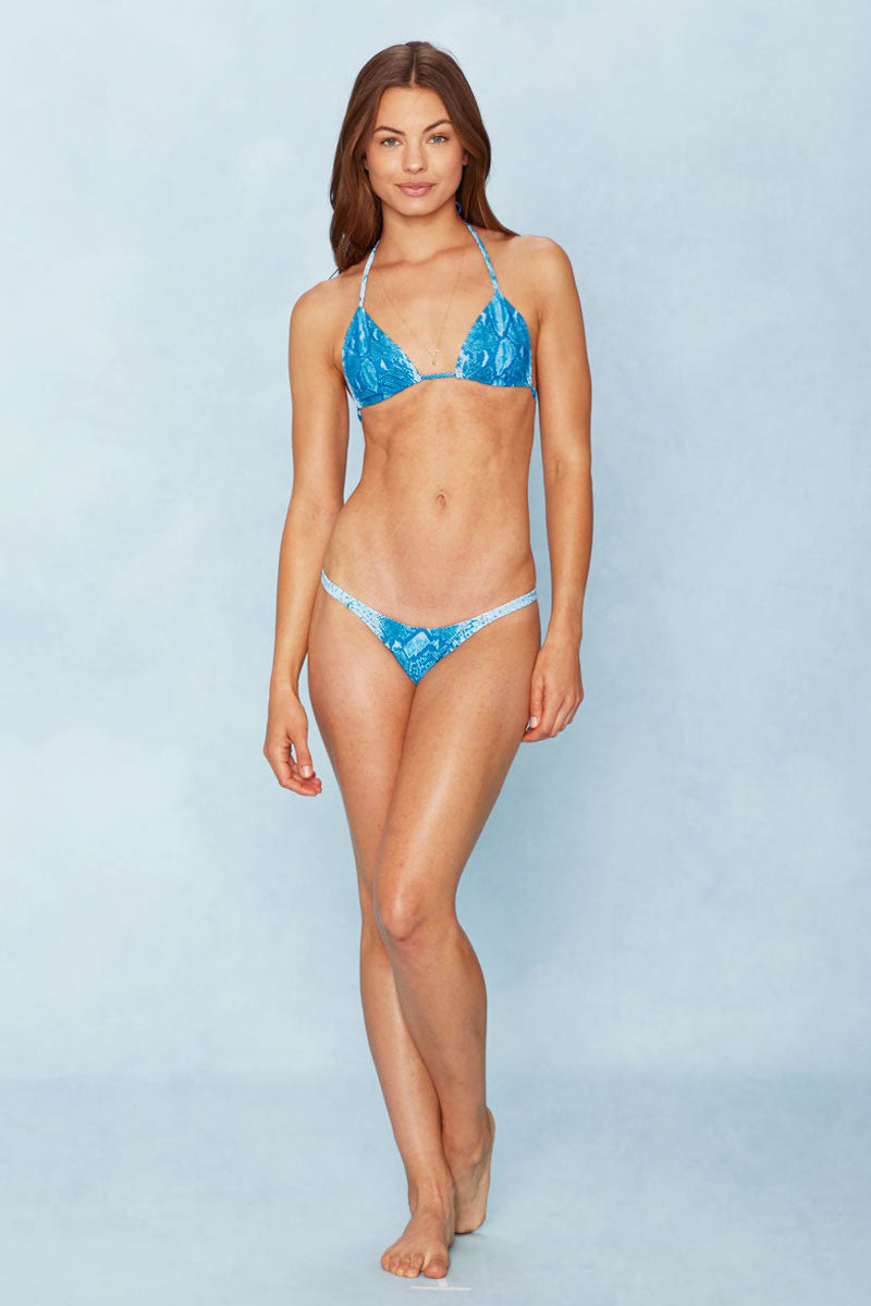 NO STRINGS ATTACHED Snake Charmer Top Bikini Top | Blue Snake Skin|