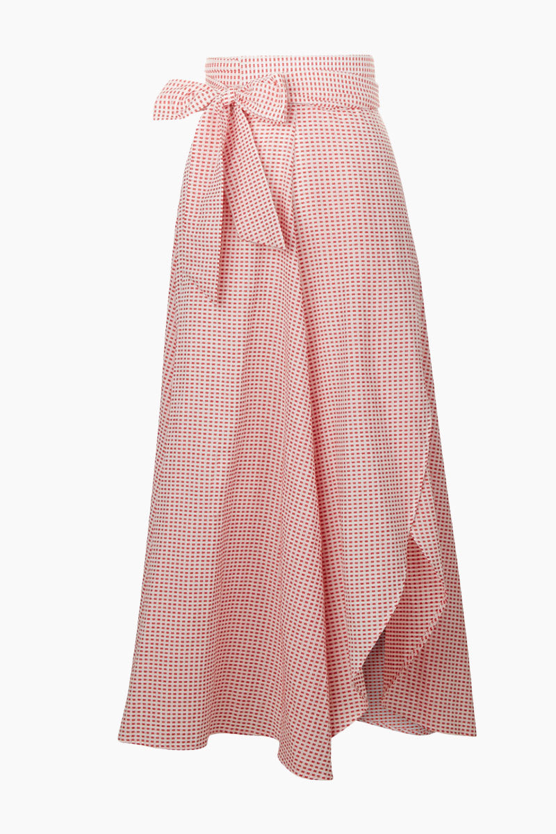 Milu Wrap Skirt - Red Texture