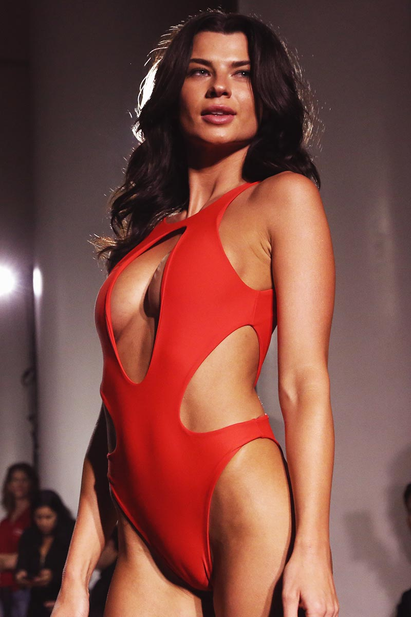 Deep V Monikini One Piece Swimsuit - Red