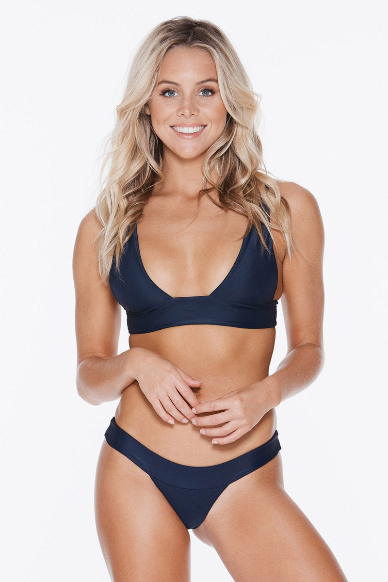 Banned Ribbed Long Triangle Bikini Top - Navy Blue
