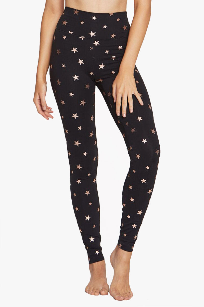 High Waisted 7/8 Leggings - Black Starry Vibes Print