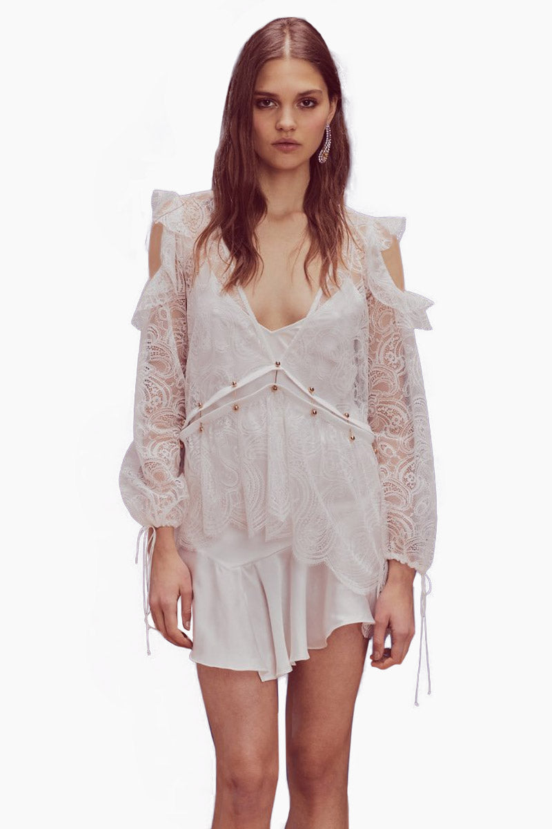 Sabina Layered Lace Long Sleeve Mini Dress - White