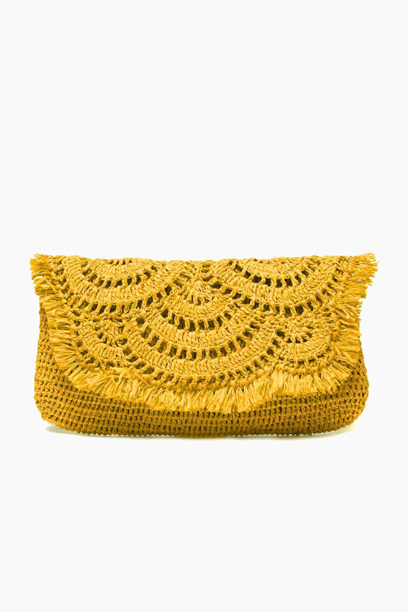 Gisele sunflower Gisele Crocheted Raffia Clutch With Cotton Lining 038 Snap Closure 8211 Sunflower