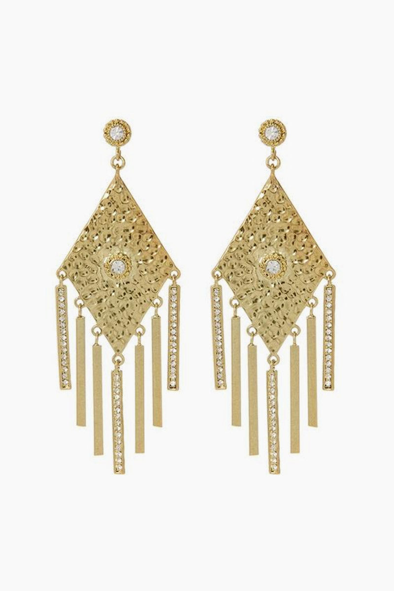 The Hammered Triangle Fringe Drop Earrings - Gold