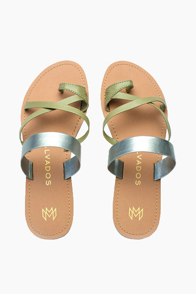 Joni Strappy Sandals - Earthy Green & Platinum Blue