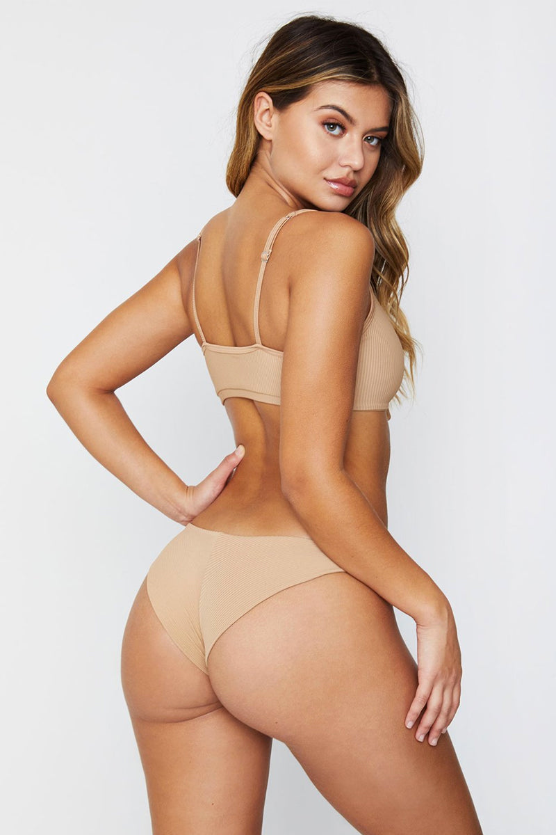 Greer Ribbed Cheeky Bikini Bottom - Nude
