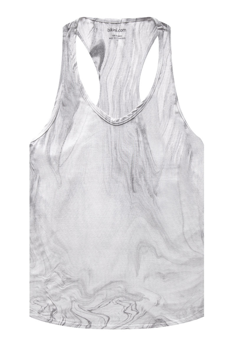 Bamboo Racerback Tank Top - Marble Gray