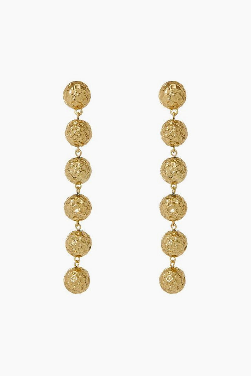 The Hammered Ball Drop Earrings - Gold