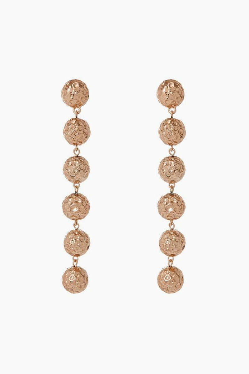 The Hammered Ball Drop Earrings - Rose Gold