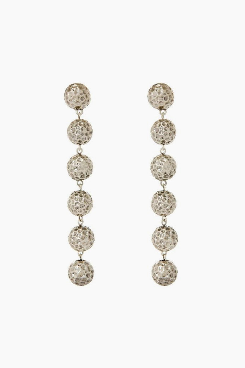 The Hammered Ball Drop Earrings - Silver