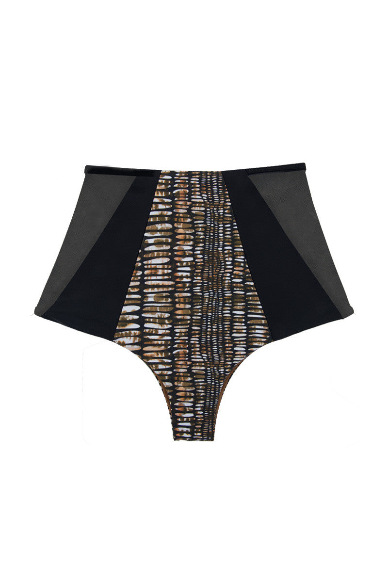 Harper Reversible Color Block Mesh High Waist Bikini Bottom - Brown Pebble Print & Black/Black & Tan