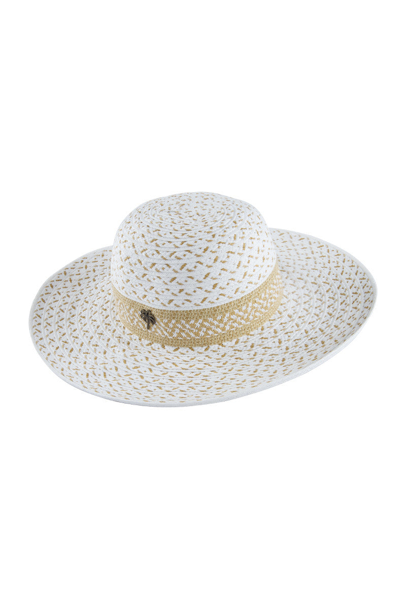 BIKINI.COM Palm Sun Hat Hat | White and Tan|
