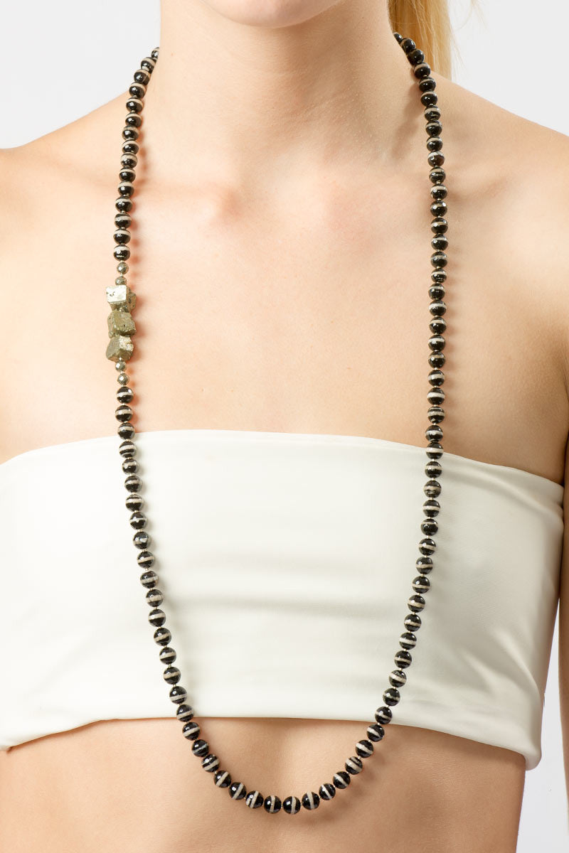 HAUS OF TOPPER Yards of Agate and Pyrite Necklace Accessories | Black & White|